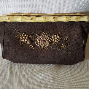 Bamboo handled clutch brown tweed beaded front